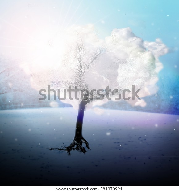 Photo manipulation of mystic cloudy tree with shining