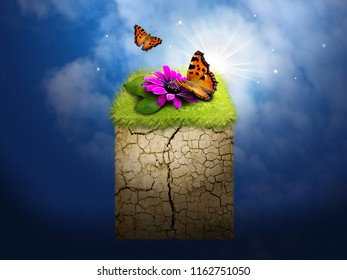 Photo manipulation of piece of grass decorated with butterflies