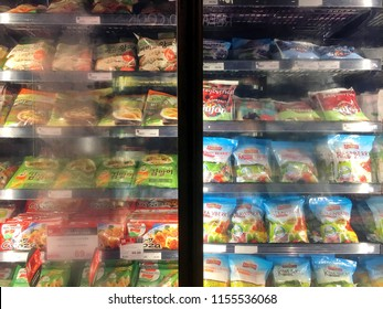 Photo of m/any brands of dried frozen fruit in its package ready for sell in the fridge of supermarket in Hua Hin, Thailand July 31, 2018