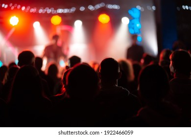 Photo of many people enjoying rock concert in nightclub
