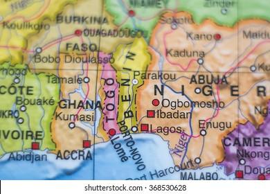Photo of a map of Benin and the capital Porto-novo .