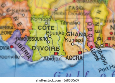 Photo of a map of Cote Divoire  and the capital Abidjan .