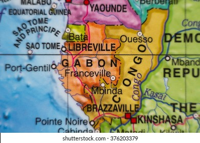 Photo of a map of Gabon and the capital Libreville .