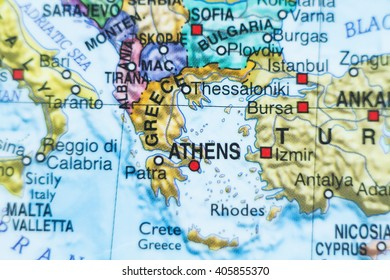 Photo of a map of Greece and the capital Athens .