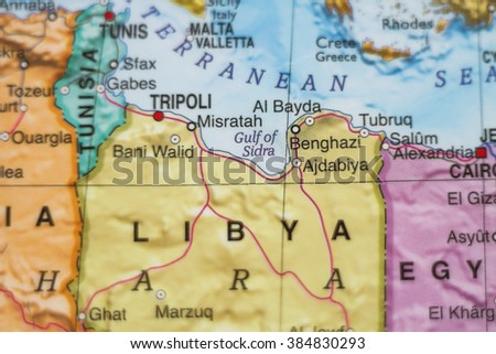 Photo Map Libya Capital Tripoli Stock Photo Edit Now 384830293