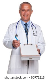 Photo of a mature adult male doctor, smiling to camera and holding a blank medical report form for you to add your own image of message, isolated on a white background.
