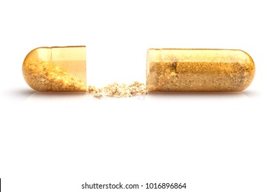 Photo of medical pills on white background.