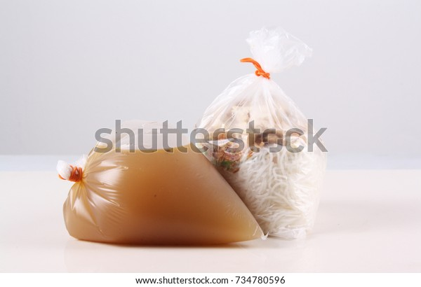 Photo for mee soup in plastic bag
