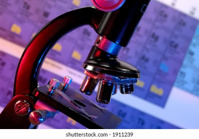 Photo of a Microscope With Gel Lighting - Science Concept