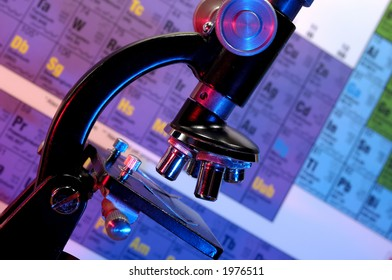 Photo of a Microscope and a Periodic Table in The Background - Science Concept