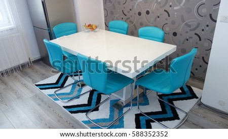 Photo Mid Size Kitchen Apartment Turquoise Stock Photo Edit Now Interesting Chandelier Size For Dining Room Minimalist