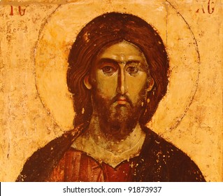 photo of a miracle icon the Christ , from 13 th century