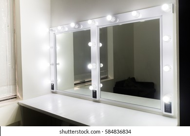 photo of the mirror in the make-up room