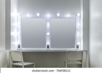 photo of the mirror in the make-up room.
