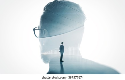 Photo of modern bearded banker wearing glass isolated white. Double exposure stylish adult businessman trendy suit and looking diagram background. Horizontal
