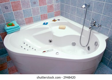 Photo of modern colorful bathroom.