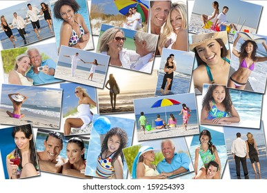 Photo montage of people happy men women children families and couples, young senior and elderly having fun on summer holiday vacations at the beach, swimming walking, surfing and relaxing