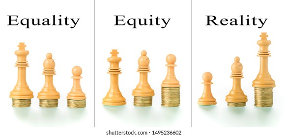 Photo montage with two conceptual photographs with chess pieces and coins showing the concepts of equality and equity.