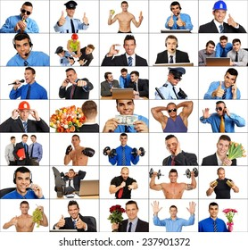Photo mosaic of active and sport people in work