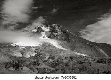 Photo of Mount Hood shot from Timberline Lodge. Photo of Mount Hood taken from Timberline Lodge. (Timberline Lodge is  owned by the U.S. National Park Service - it is not under copyright. This image w