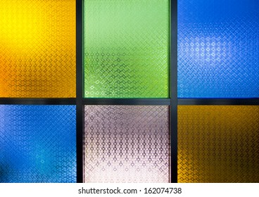a photo of multicolor  glass window