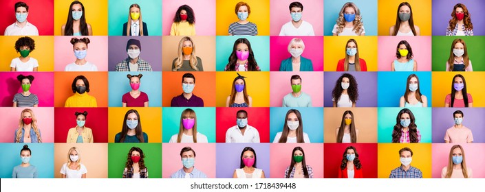 Photo multiple montage image of student kid afro human people of different age and ethnicity wearing surgical disposable and fabric breathing masks isolated over bright colorful background - Shutterstock ID 1718439448