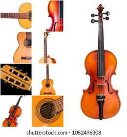 Photo of musical instruments. Music collage, classical guitar and violin