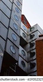 Photo of Nakagin Capsule style accomodation building with interesting design, Tokyo, Japan