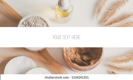 Photo of natural cosmetic products for skincare on a white background in natural light. Banner/header for website or blog about beauty and natural skincare with text space. Poster or flyers template.