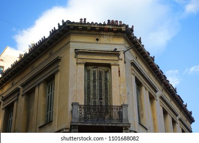 Photo from neoclassic old buildings in district of Plaka, Athens historic center, Attica, Greece