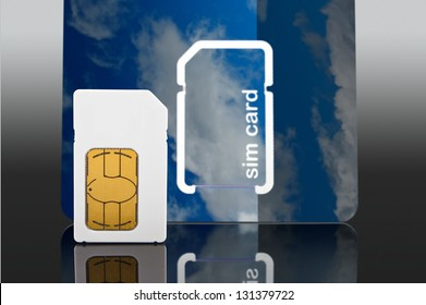 Photo of a a new Sim card from a mobile or cell phone close up