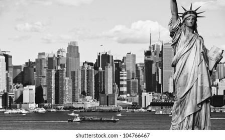 photo new york city black and white hi contrast with statue of liberty over hudson river. nyc skyline cityscape.