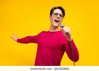 Photo of nice brunet millennial guy sing wear red sweater isolated on yellow color background - Shutterstock ID 2022303860