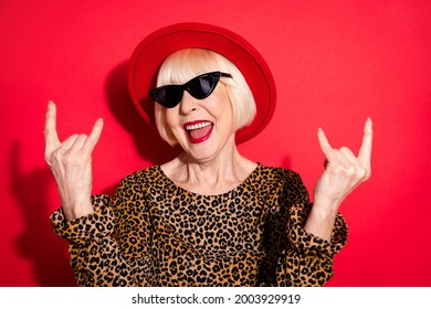 Photo of nice charming happy crazy old lady show horned signs wear hat isolated on red color background