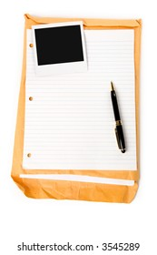 photo and notepaper with white background