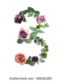Photo number 3 made of leaves and flowers on white background. Typographic element for design. Part of flower alphabet. Digit three