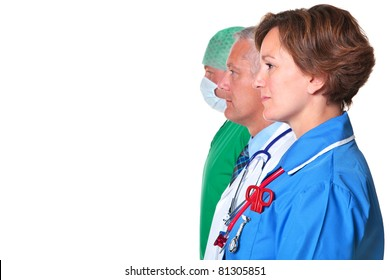 Photo of a nurse, doctor and surgeon in profile isolated against a white background.