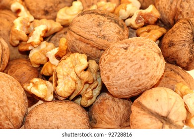photo of nutmeat and nuts on white background