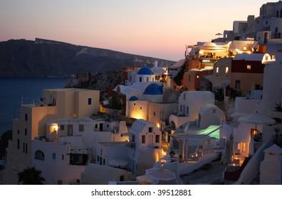 Photo of Oia village at night, Santorini Island, Greece