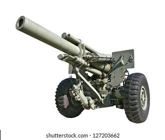 Photo of an old artillery gun.