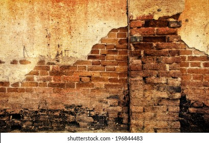 a photo of old crack wall ,grunge style