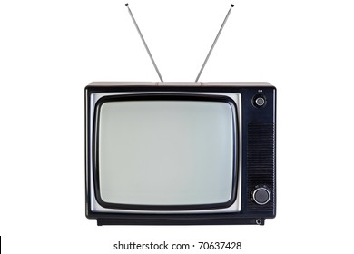 Photo of an old retro black and white tv set, isolated on a white background, with clipping paths for television and the screen.