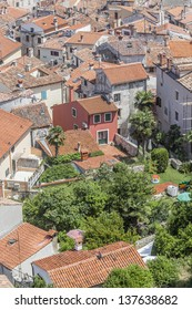 Photo of old Rovinj city rooftops, made from the bell tower of the Eufemije cathedral. Istra, Croatia, Europe