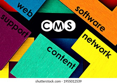 Photo on CMS (content management system) theme. The abbreviation
