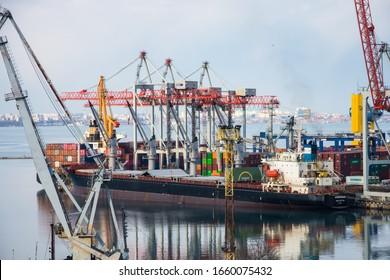 The photo  opens a view of the container terminal. Commercial port, City Odessa, Ukraine, 2020 February