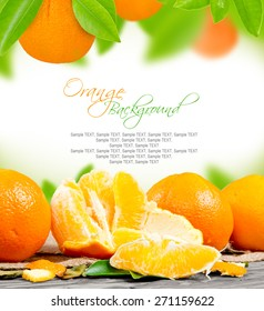 Photo of orange with leaves and slice with white space for text