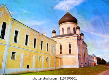 Photo orthodox temple in the monastery lit by the sun in Russia