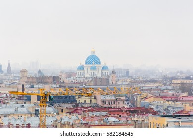 Photo of Orthodoxy church in Saint Petersburg from bird flying