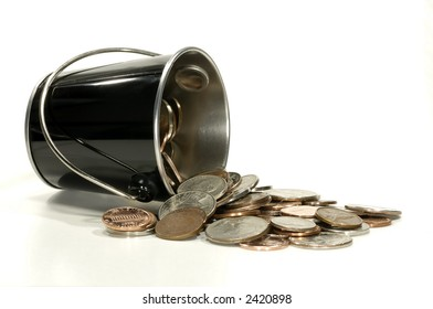 Photo of a Pail With Various US Coins / Currency - Money Related