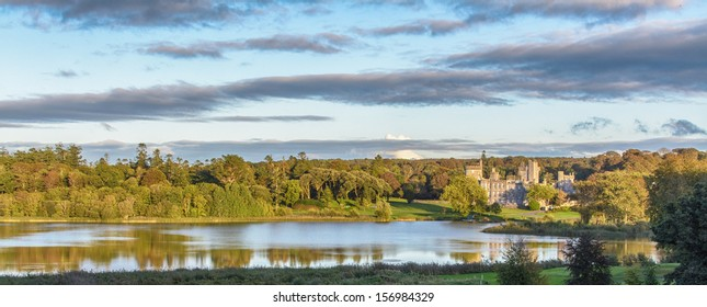 photo panoramic panorama famous 5 star dromoland castle hotel and golf club in ireland. beautiful epic scenic business, family, wedding venue and world famous golf course in ireland.